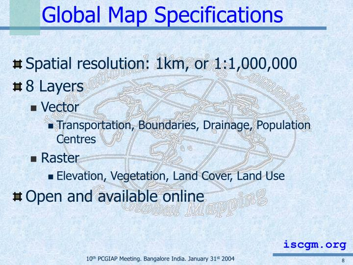 Global Map Specifications