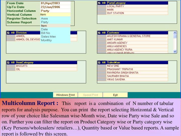 Multicolumn Report :
