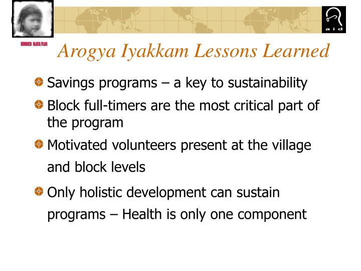 Arogya Iyakkam Lessons Learned