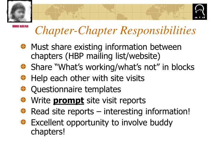Chapter-Chapter Responsibilities