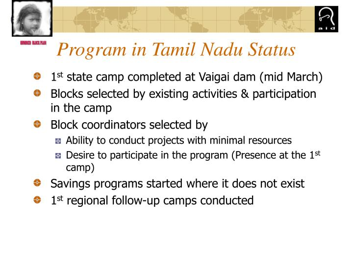Program in Tamil Nadu Status
