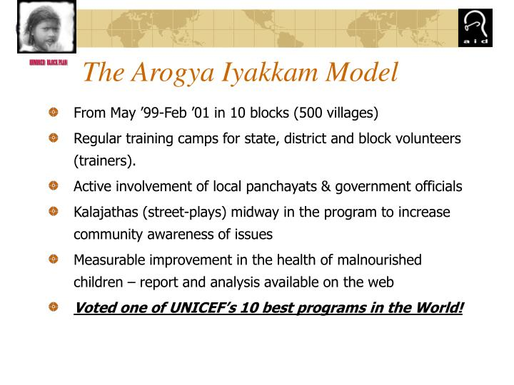 The Arogya Iyakkam Model