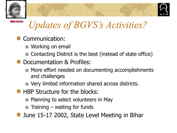 Updates of BGVS's Activities?