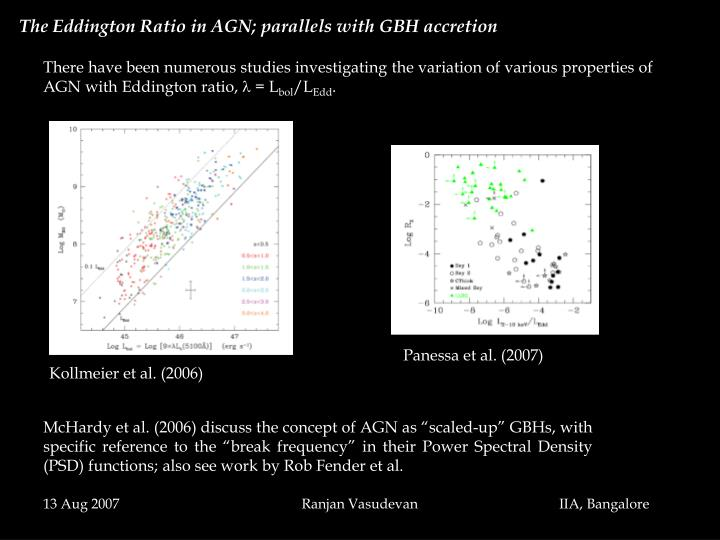 The Eddington Ratio in AGN; parallels with GBH accretion