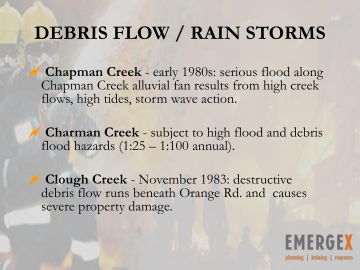 DEBRIS FLOW / RAIN STORMS