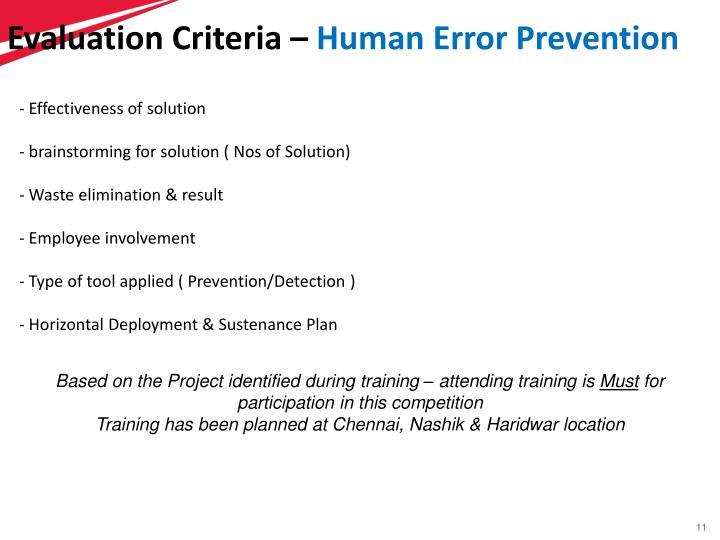 Evaluation Criteria –