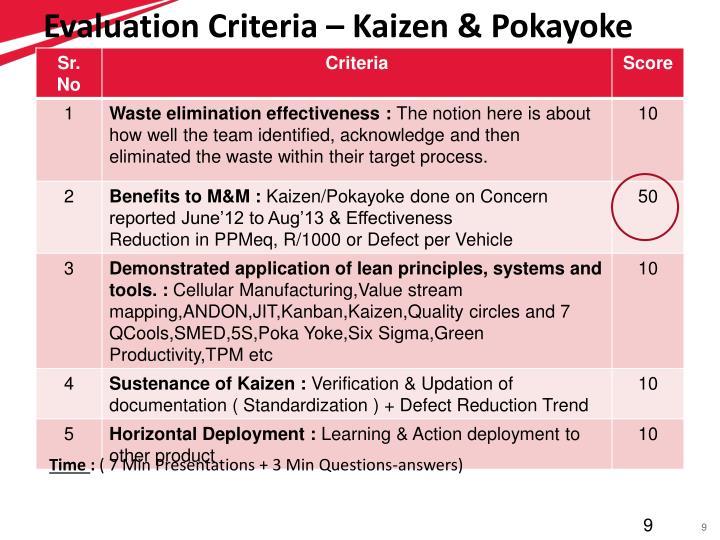 Evaluation Criteria – Kaizen & Pokayoke