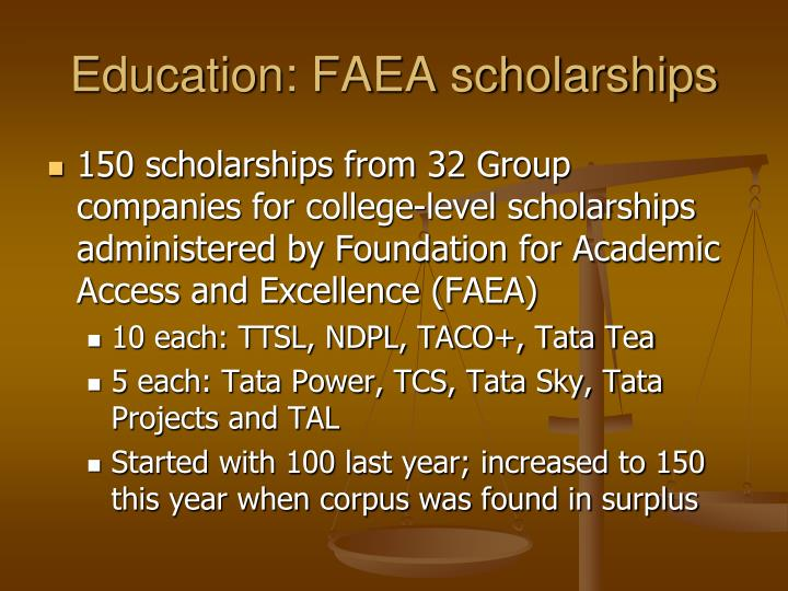 Education: FAEA scholarships