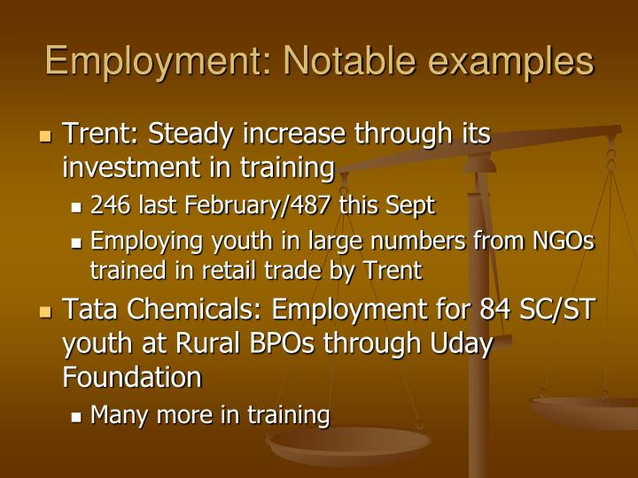 Employment: Notable examples