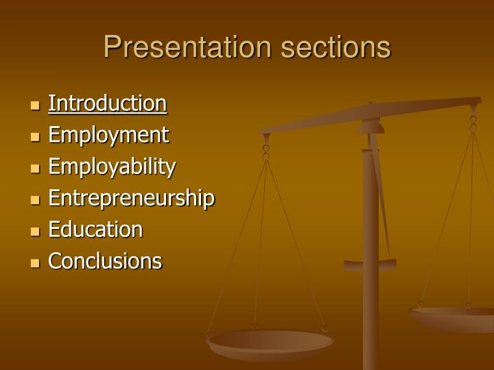 Presentation sections