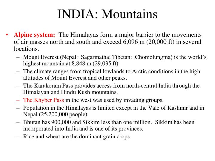 INDIA: Mountains