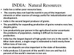 india natural resources