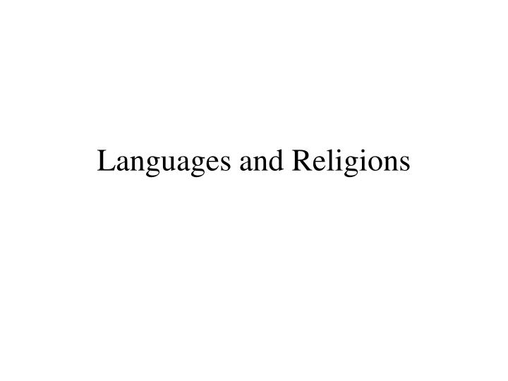 Languages and Religions