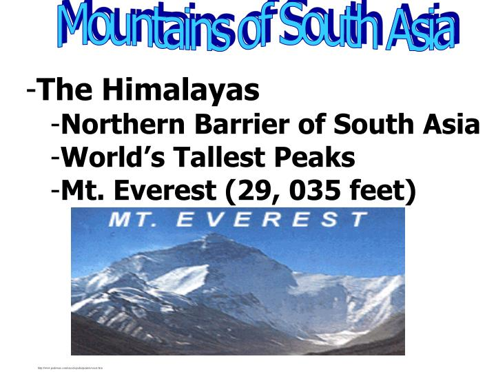 Mountains of South Asia