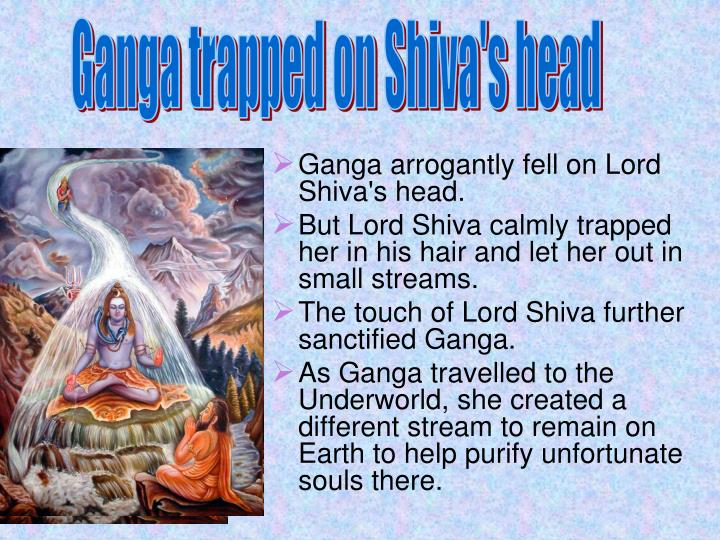 Ganga trapped on Shiva's head