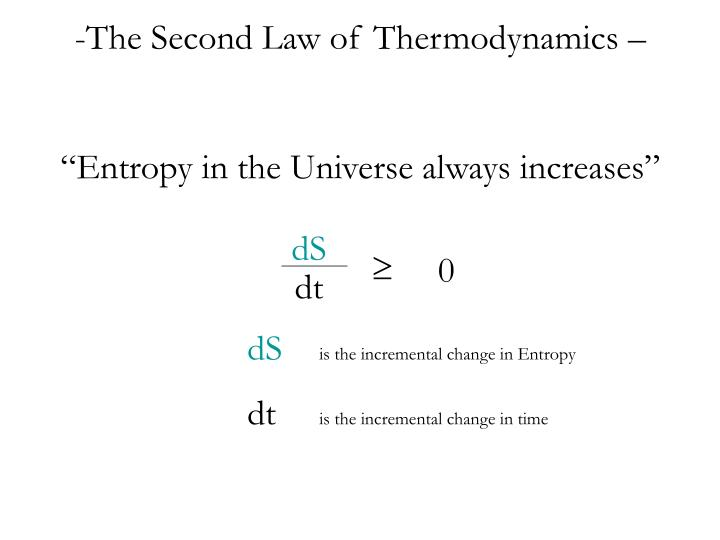The Second Law of Thermodynamics –