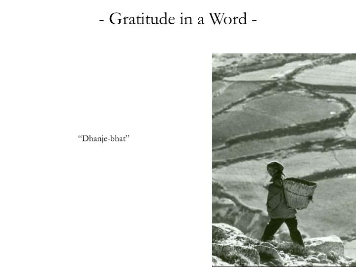 - Gratitude in a Word -