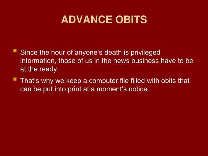 ADVANCE OBITS
