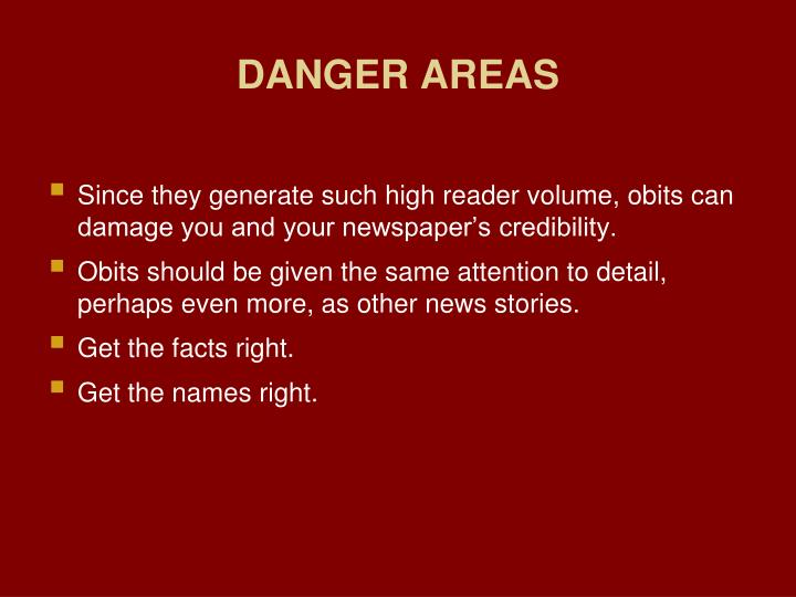 DANGER AREAS