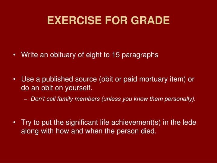 EXERCISE FOR GRADE