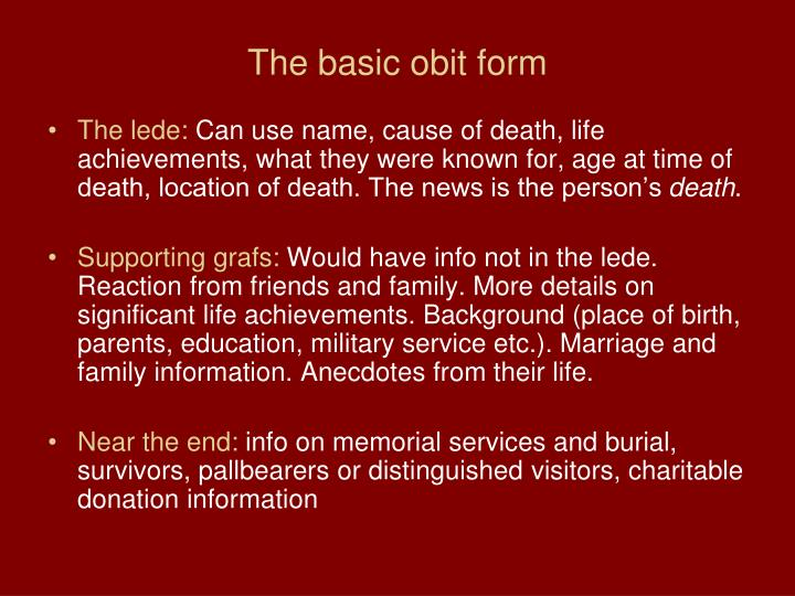 The basic obit form
