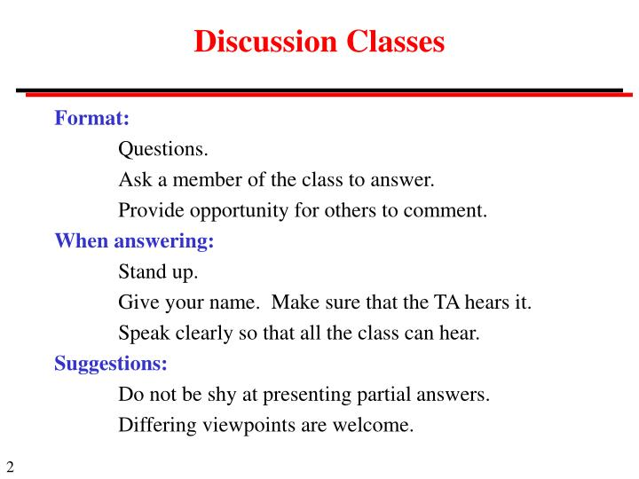 Discussion Classes