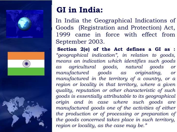 GI in India: