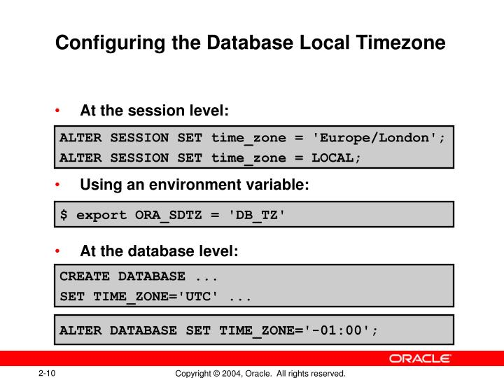 Configuring the Database Local Timezone