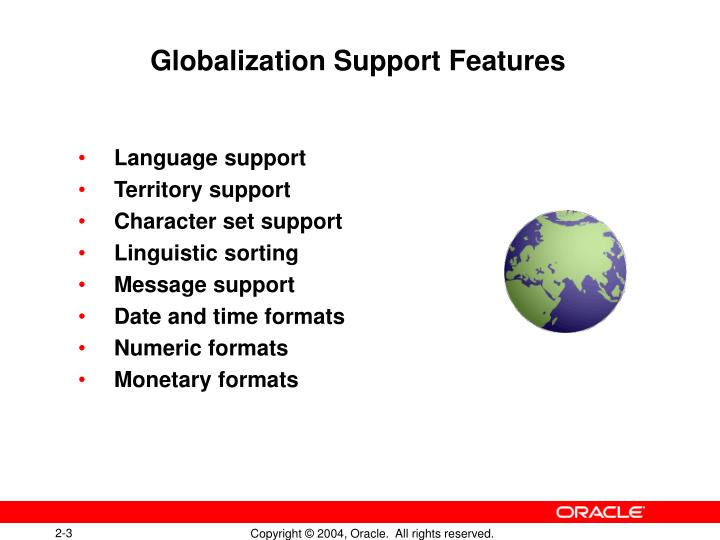 Globalization support features