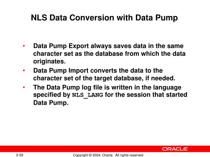 NLS Data Conversion with Data Pump