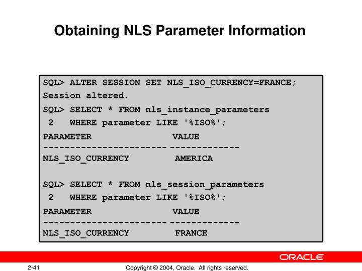 Obtaining NLS Parameter Information