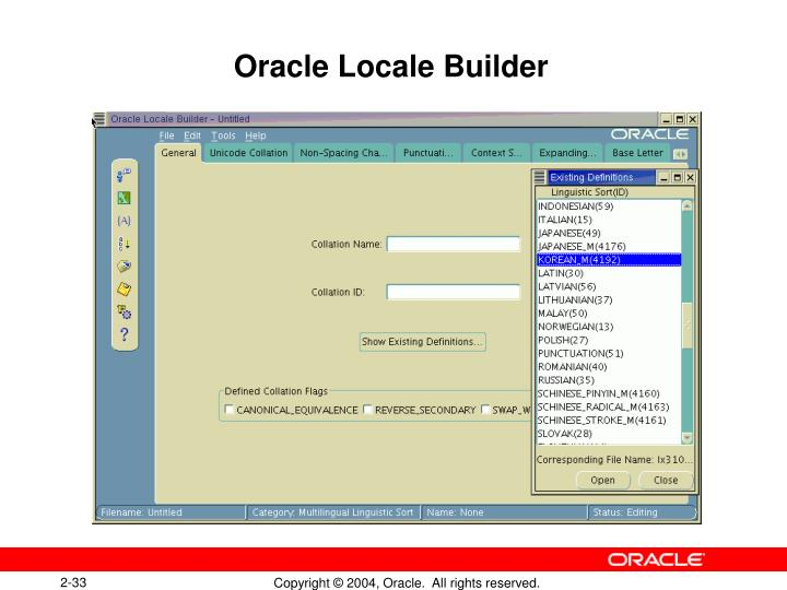 Oracle Locale Builder