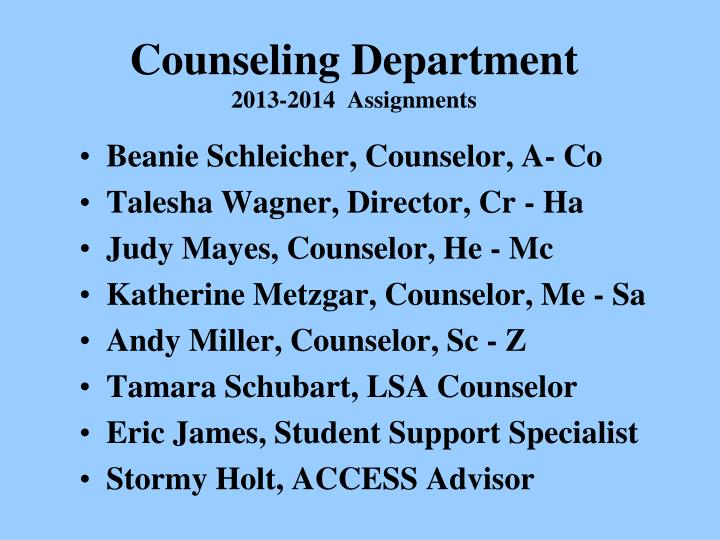 Counseling department 2013 2014 assignments