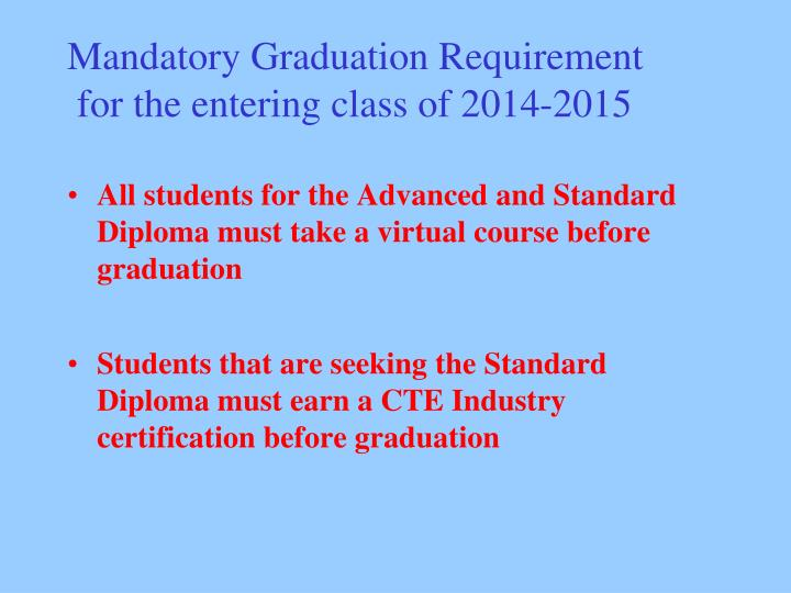 Mandatory Graduation Requirement