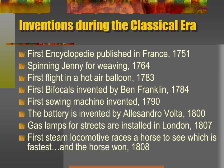 Inventions during the Classical Era
