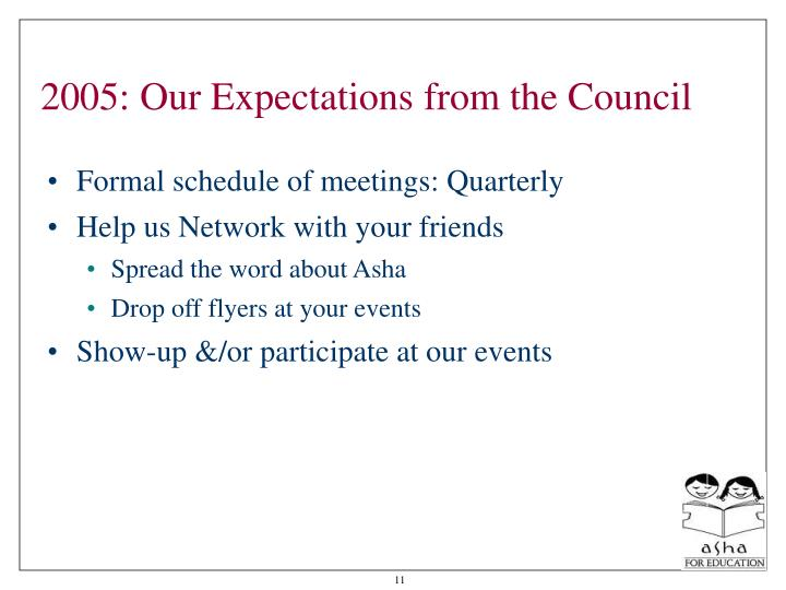 2005: Our Expectations from the Council