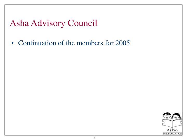 Asha Advisory Council