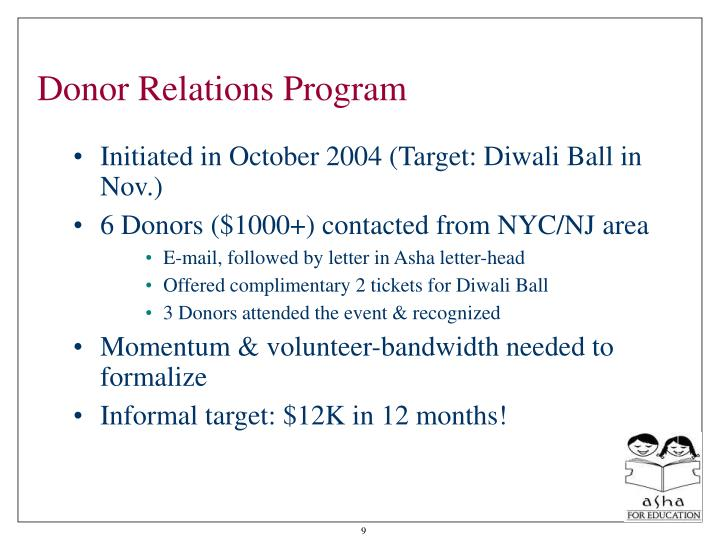 Donor Relations Program