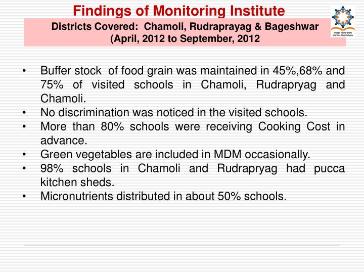 Findings of Monitoring Institute