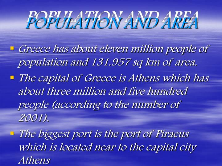 POPULATION AND AREA
