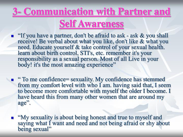 3- Communication with Partner and Self Awareness