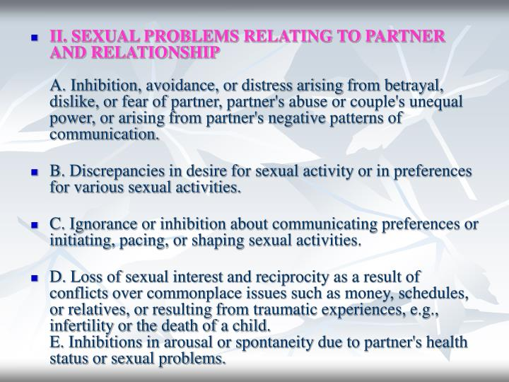II. SEXUAL PROBLEMS RELATING TO PARTNER AND RELATIONSHIP