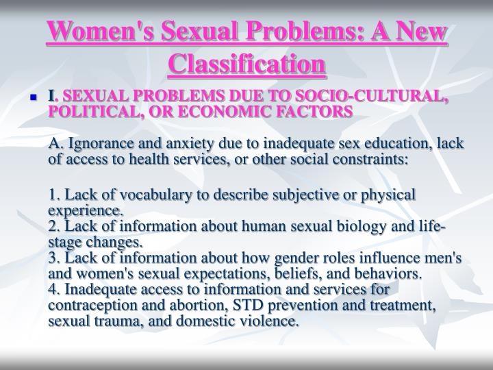 Women's Sexual Problems: A New Classification