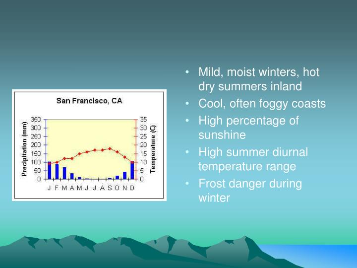 Mild, moist winters, hot dry summers inland