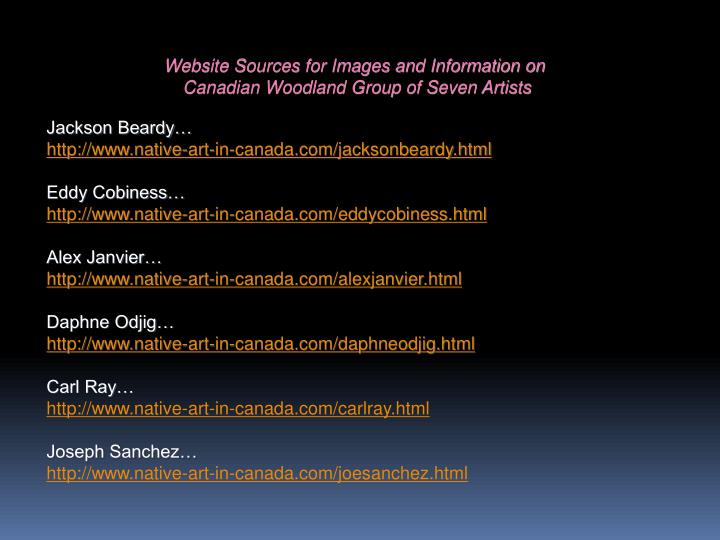 Website Sources for Images and Information on