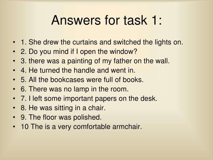 Answers for task 1: