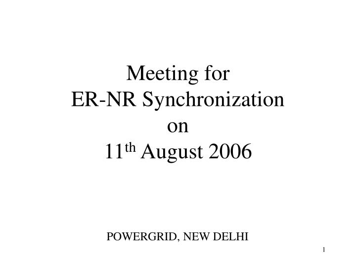 Meeting for er nr synchronization on 11 th august 2006