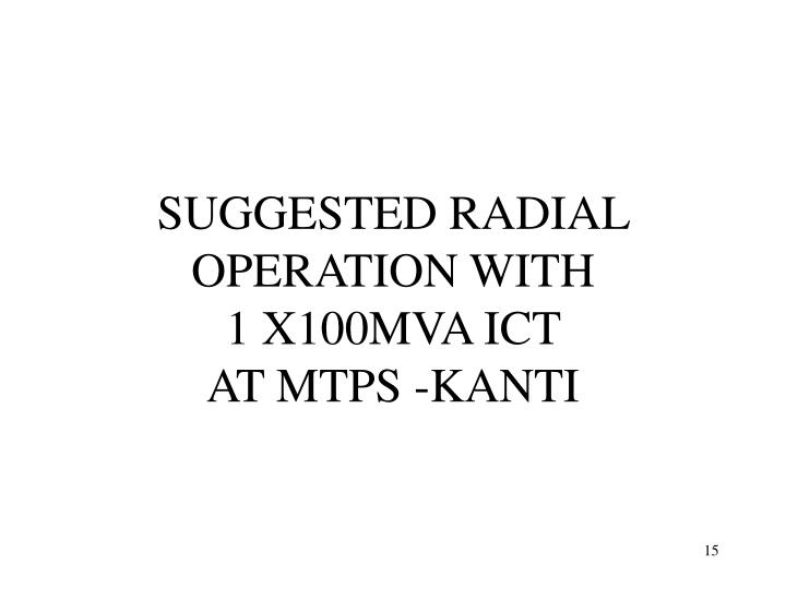 SUGGESTED RADIAL OPERATION WITH