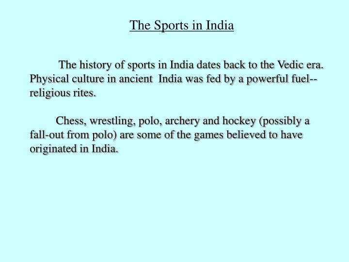 The Sports in India