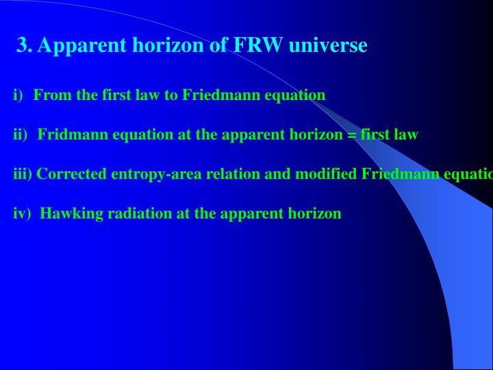 3. Apparent horizon of FRW universe